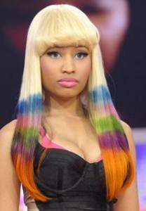 nicki minaj4 208x300 Nicki Minaj Multi Colored Hair