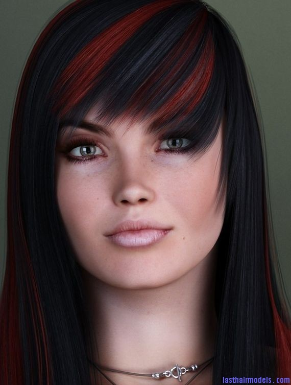Enjoyable Black Hair With Red Bangs Short Hair Fashions Hairstyle Inspiration Daily Dogsangcom