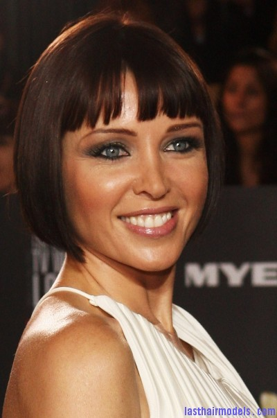 86355621 Danni Minogues short convex bob: Sleek short hairdo.