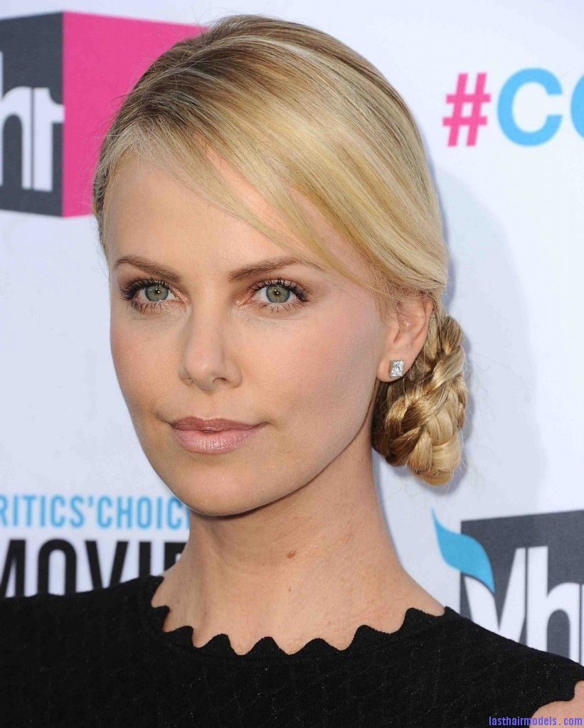 GettyImages 136918471 821x1024 Charlize Theron's braid bun: The newer classy style!