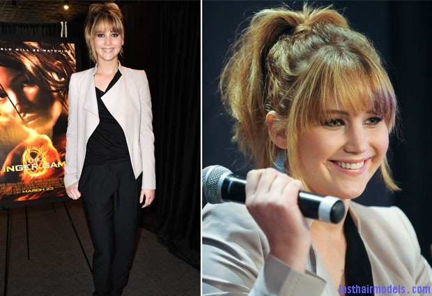 Jennifer Lawrence In Elie Saab Jennifer Lawrence's bangs with ponytail: A great messy look!!