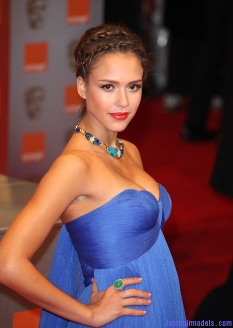 Jessica Alba Versace Blue Dress 2011 Bafta Awards Jessica Alba's double crown braid: Heidi braids at their best!!