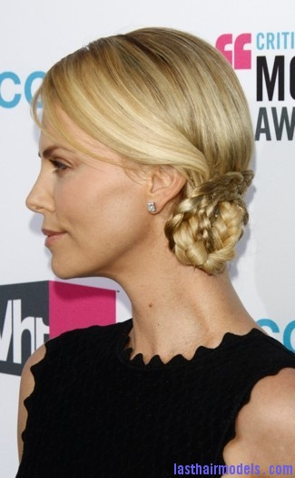 charlize theron la jan 2012 sized Charlize Theron's braid bun: The newer classy style!