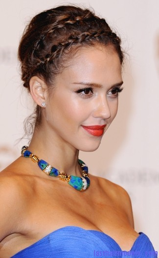 jessica alba baftas feb 2011 sized Jessica Alba's double crown braid: Heidi braids at their best!!