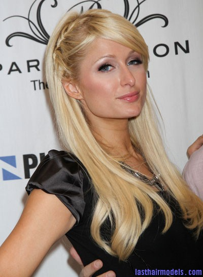 paris hilton straight bangs braids and twists blonde Paris Hiltons side braid: look cute and chic together!