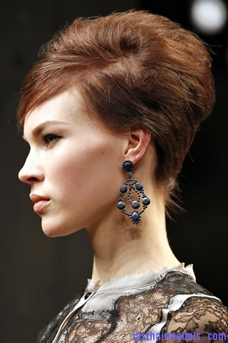 00560big 320x480 Bottega Veneta fashion show models hairstyle: Thick high frizzy vintage buns!