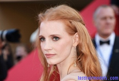 144786296 actress jessica chastain attends the l Jessica Chastain's twisted half tie.