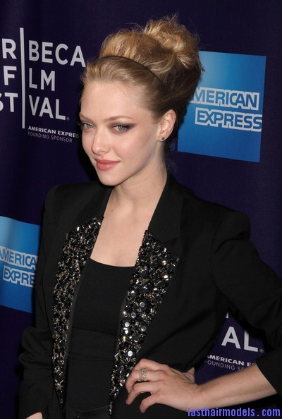 9th+Annual+Tribeca+Film+Festival+Letters+Violet+1BVznciSlzql Amanda Seyfried bun with a head band: Messiness mixed with sleekness!