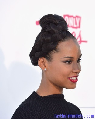 Alicia Keys Updo Hairstyles rise to a polished updo