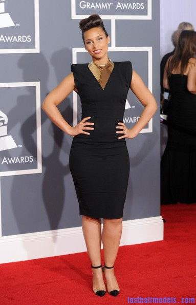 Alicia+Keys+Dresses+Skirts+Little+Black+Dress+pR1pfBMBjqnl Alicia Keys retro banana updo: Retro is fun!