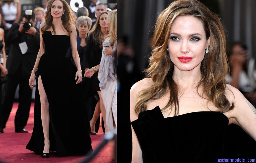 Angelina jolie Oscars 2012 Academy Awards Versace splurgerina Angelina Jolie's simple wavy look: Bound to elegance!