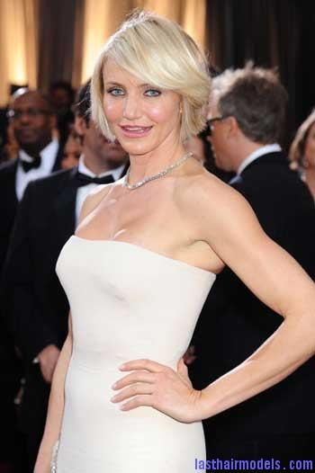 Cameron Diaz Academy Awards 2012 makeup and hair Cameron Diazs  signature short bob: Short is in!!