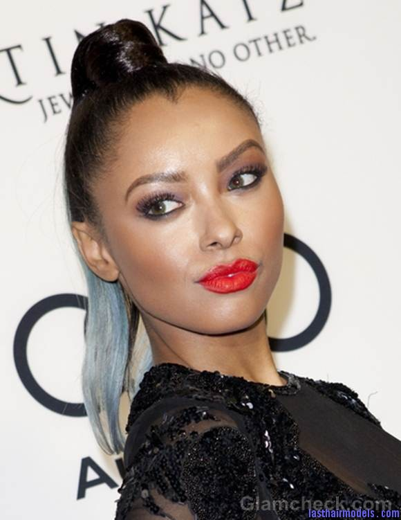 Celeb Hairstyle Kat Graham Sports Sleek Two Toned Top Knot Ponytail Kat Graham's straight ponytail.