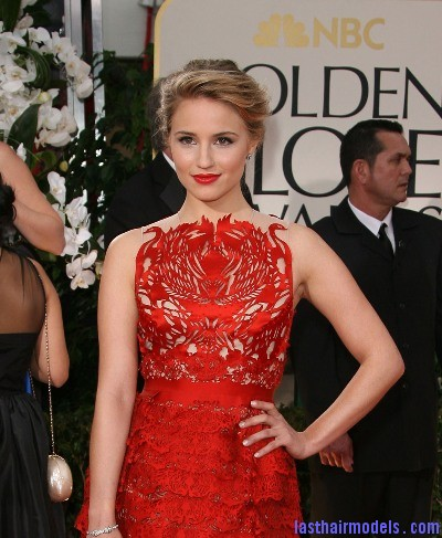 Dianna Agron @ Golden Globes Red Carpet 2012 PHOTOS Diana Agron's elegantly styled updo with a ponytail: Sheer redness on red carpet!!