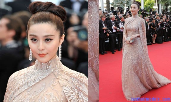 Fan Bingbing at Cannes 2012 Fan Bing Bing's bow shaped updo: Combining moderancy with tradition.