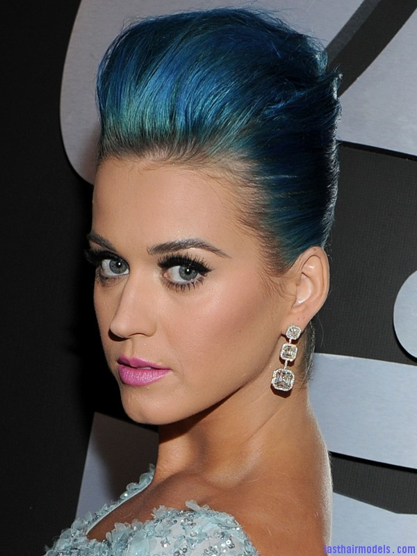Grammy Awards 2012 Katy Perry Katy Perry's high poof bun: Blue bun style changed!