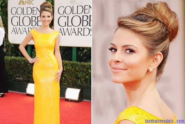 Maria Menounos In Blumarine 2012 Golden Globe Awards Maria Menounos's bun in style: A halo of radiance!