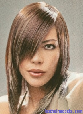Medium layered hairstyle with very long side bangs Ultra Long side bangs.