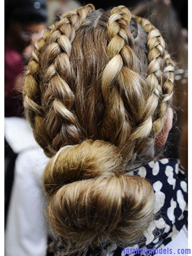 Multiple braid bun Multiple hair plaits and braids hairstyle.