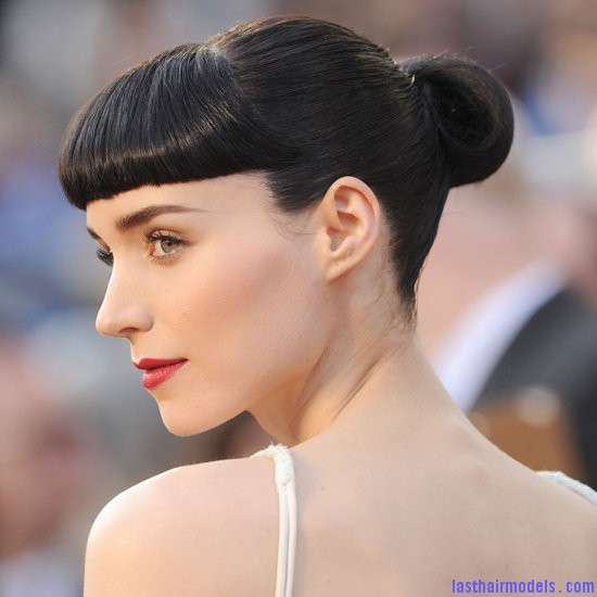 Rooney Mara bun Rooney Maras short bun: Shine and neatness in one!!