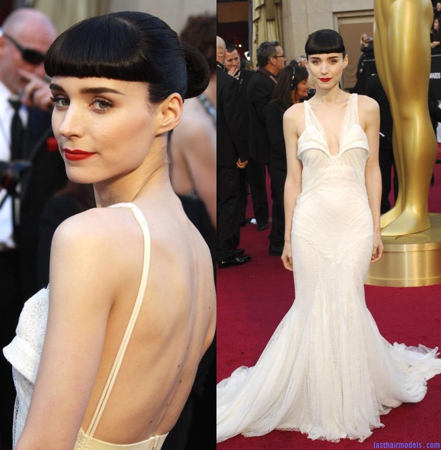 Rooney Mara gown at oscar 2012 Rooney Maras short bun: Shine and neatness in one!!
