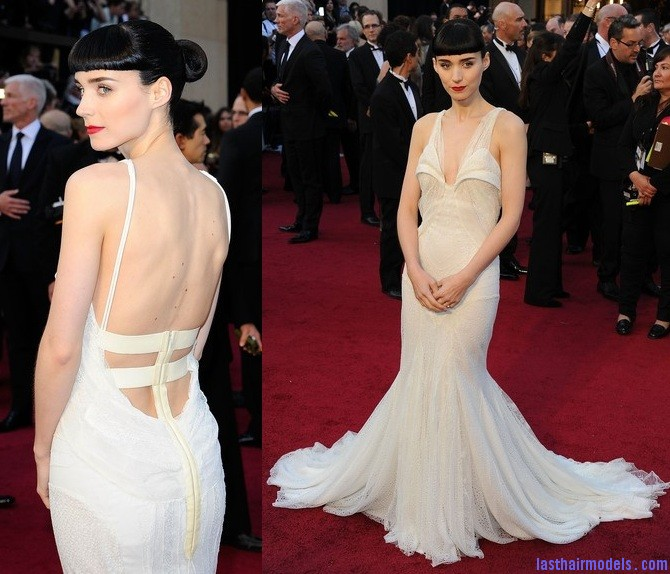 Rooney mara in Givenchy 2012 Oscars Rooney Maras short bun: Shine and neatness in one!!