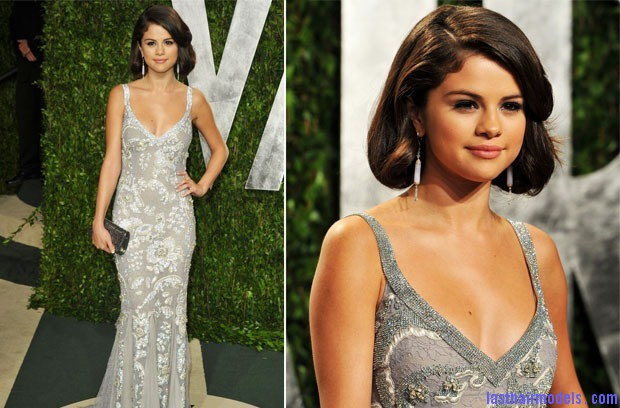 Selena Gomez in Dolce Gabbana 2012 Vanity Fair Oscar Party Selena Gomezs short bob: Short hair in elegance!
