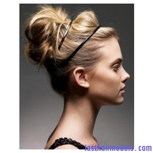 bun with head band updo hair style Sleek head band adds to style: Make yourself look chic!