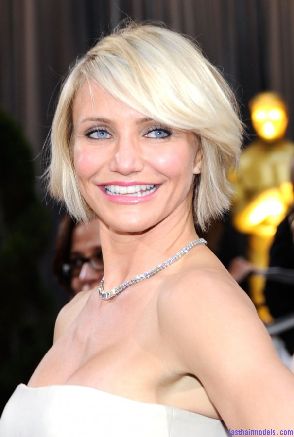 cameron diaz oscars 2012 haircut 6634e Cameron Diazs  signature short bob: Short is in!!