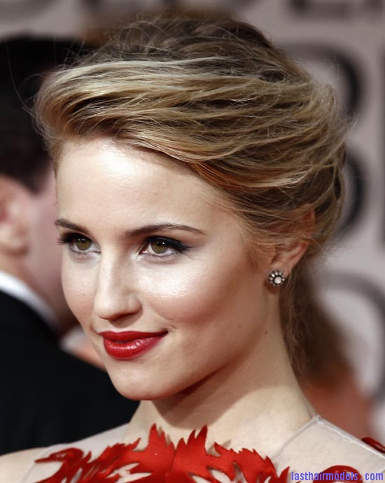 diana agron makeup 2012 golden globes Diana Agron's elegantly styled updo with a ponytail: Sheer redness on red carpet!!
