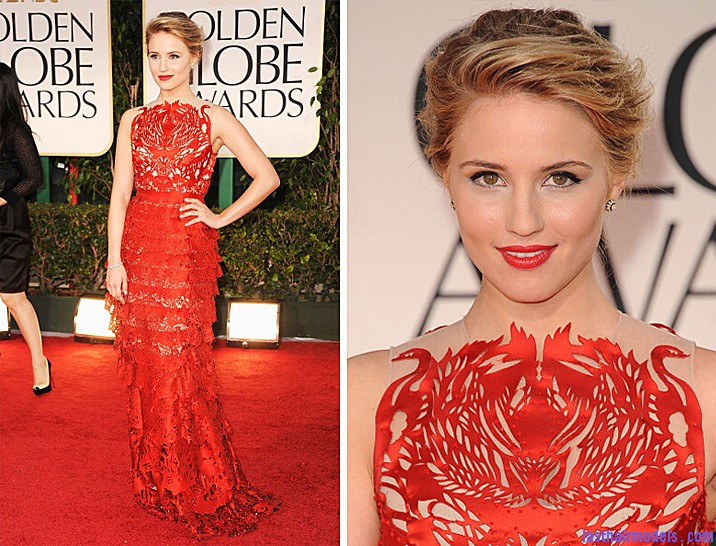 dianna agron golden globes 2012 Diana Agron's elegantly styled updo with a ponytail: Sheer redness on red carpet!!
