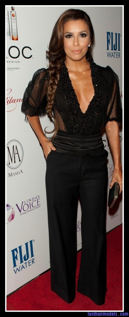 eva longoria pre oscar party 2012 418x1024 Eva Longoria's side plait: the sleek feminity!