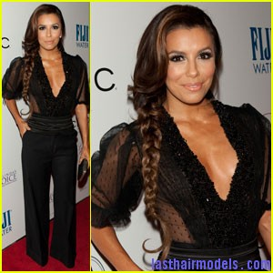 eva longoria pre oscar party Eva Longoria's side plait: the sleek feminity!