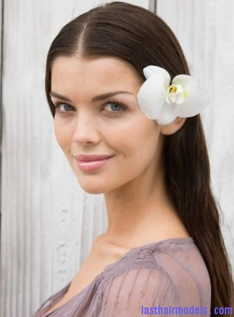 hair flower side style Hawaiian hairstyles.