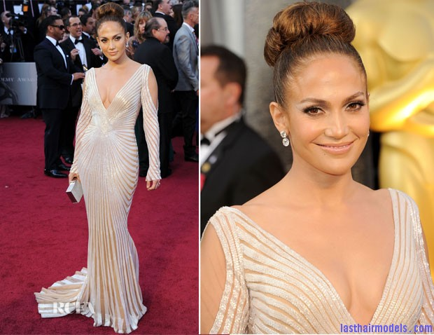 jennifer lopez in zuhair murad 2012 oscars Jennifer Lopezs tight bun: Charisma in tight high sweep!