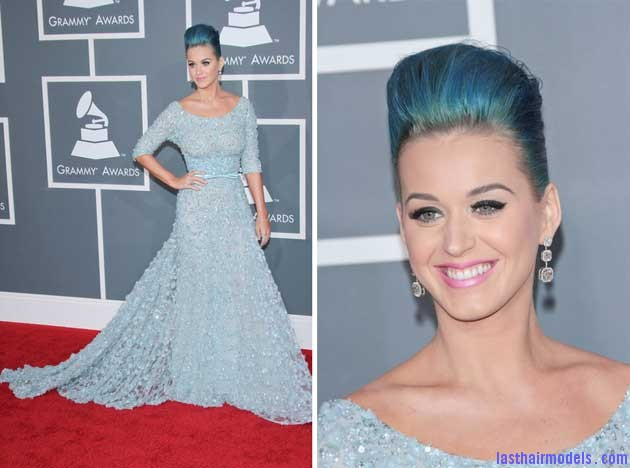 katy perry 2012 grammy awards Katy Perry's high poof bun: Blue bun style changed!