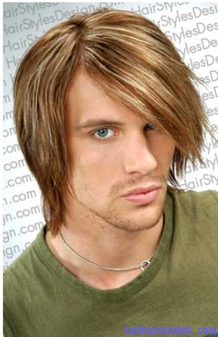men medium long hairstyle with long side bangs with high lites Ultra Long side bangs.