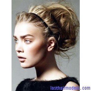 messy pouf bun and headband updo hairstyle Sleek head band adds to style: Make yourself look chic!