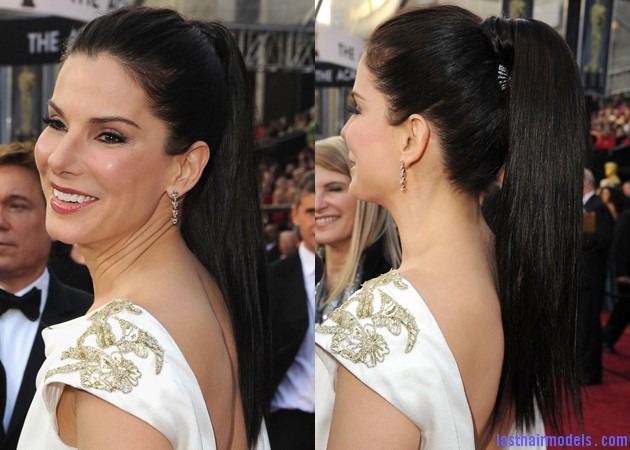 oscars hair sandra bullock Sandra Bullock's high ponytail: Perfect match for her monochrome dress!