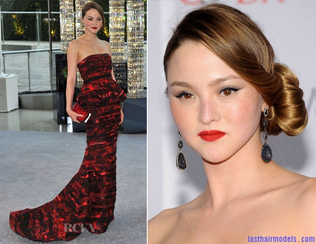 Devon Aoki In Alice + Olivia  2012 CFDA Fashion Awards Devon Aokis silky side ballerina bun.