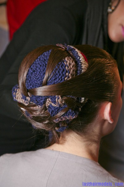 Thakoon+Fall+2011+Backstage+8j RAz9aB  l Chinese inspired woolen hair accessorized buns.