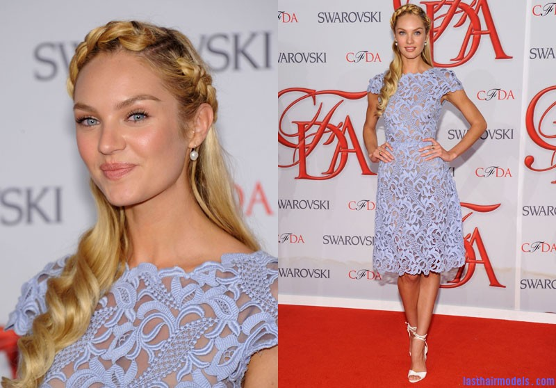 candice Candice Swanepoel's crown braid with bottle curls.