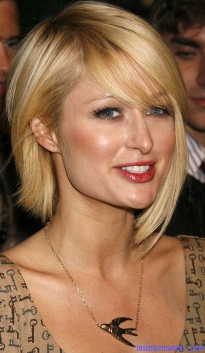 Celebrity hairstyles for Paris Hilton Paris Hilton's asymmetrical bob: Peppy hairstyle!