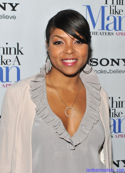 Taraji+P+Henson+Tops+Ruffle+Blouse+7Gik7HLP3U7l Taraji P Henson's side banged ponytail: Simple hairstyle with grace!