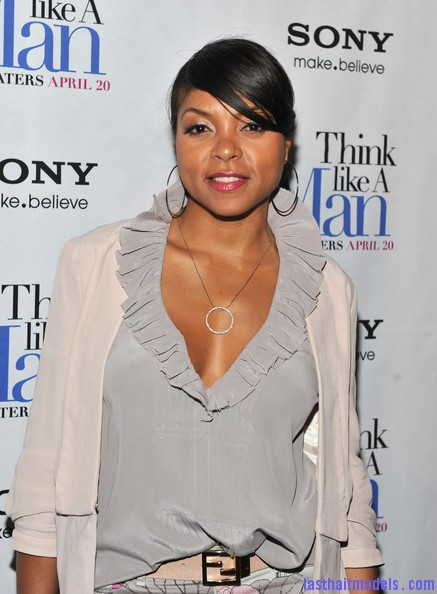 Taraji+P+Henson+Tops+Ruffle+Blouse+8LpRHhQQJ54l Taraji P Henson's side banged ponytail: Simple hairstyle with grace!