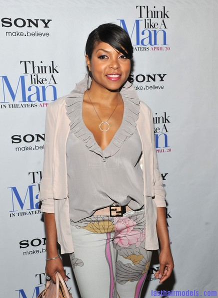 Taraji+P+Henson+Tops+Ruffle+Blouse+Wz4qHBqJrXgl1 Taraji P Henson's side banged ponytail: Simple hairstyle with grace!