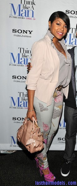 Taraji+P+Henson+Tops+Ruffle+Blouse+ZSynjJFEdGel Taraji P Henson's side banged ponytail: Simple hairstyle with grace!