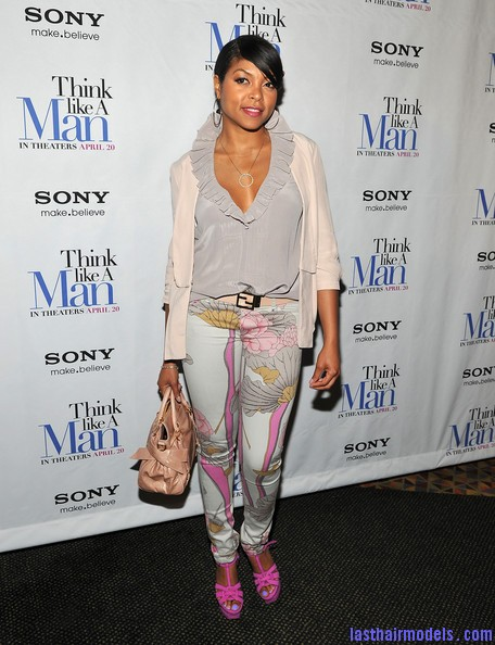 Taraji+P+Henson+Tops+Ruffle+Blouse+b5AZNLXGIm3l Taraji P Henson's side banged ponytail: Simple hairstyle with grace!