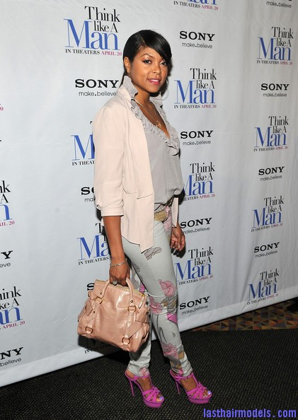 Taraji+P+Henson+Tops+Ruffle+Blouse+dFGOYSMI5yfl Taraji P Henson's side banged ponytail: Simple hairstyle with grace!
