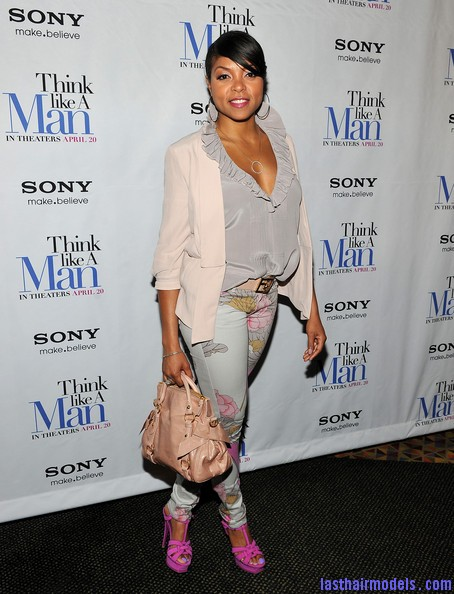 Taraji+P+Henson+Tops+Ruffle+Blouse+msSW8JD1WJ0l Taraji P Henson's side banged ponytail: Simple hairstyle with grace!